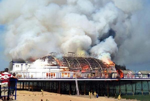 Eastbourne Pier fire: Arcade left gutted by blaze at 140-year-old venue