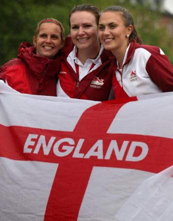 Sian Honnor, centre, won gold today in the lawn bowls