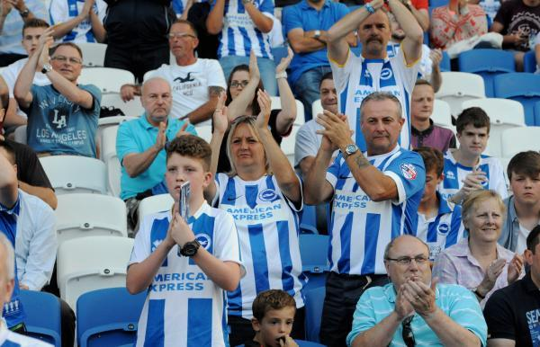 Fans at the Amex last night