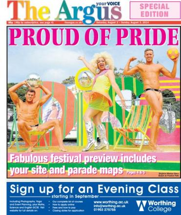 Today's front page of The Argus Brighton Pride special edition