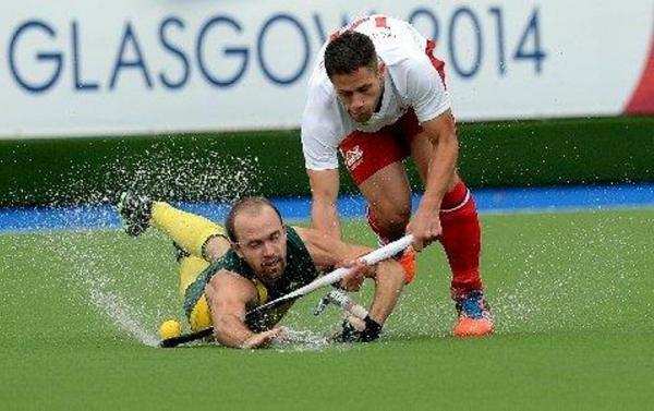East Grinstead's Mark Gleghorne in action as England lose their semi-final today