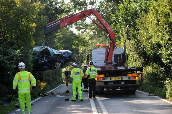 A27 closed in both directions following two-car crash