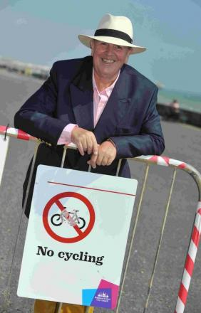 Phillip Davies, AKA Promenading Percy, has made a funny video about cyclists and dog walkers flouting the rules on the promenade