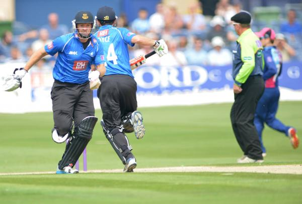 Chris Nash and Ed Joyce on the run during Sussex's bright start