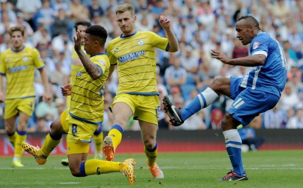 Chris O'Grady goes for goal - but Keiren Westwood saved