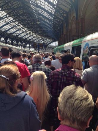 Queues at Brighton station on Saturday.  Picture: Colin Hedge