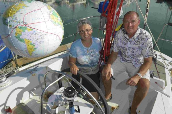 Kevin Hutchings and Philppa Bull moored up in Brighton Marina after a three-year sailing trip circumnavigating the globe in their boat, Wanda