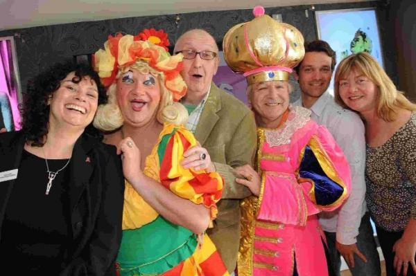 Brian Ralfe, third from right, in costume for one of his Brighton Alternative Pantos