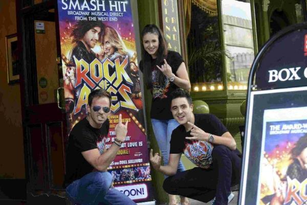 The Rock of Ages stars from left, Ben Richards, Cordelia Farnworth and Noel Sullivan