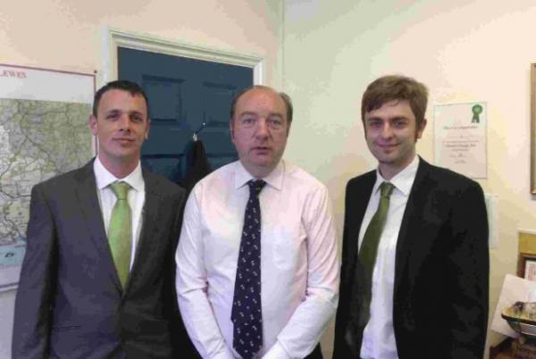 Norman Baker MP, centre, with epilepsy sufferer Keiron Reeves, left, and MS sufferer Clark French, right