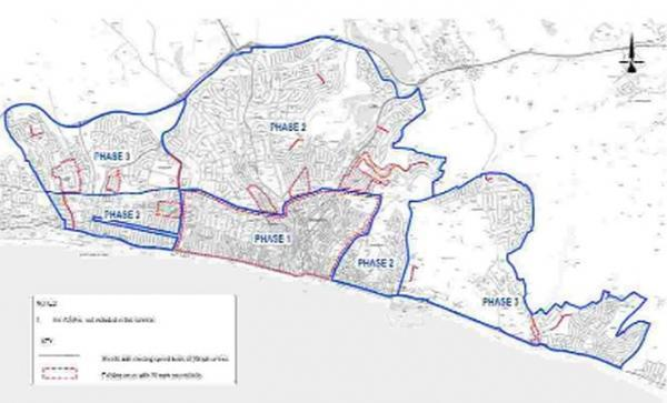 A map showing the rollout of the 20mph zone across Brighton and Hove