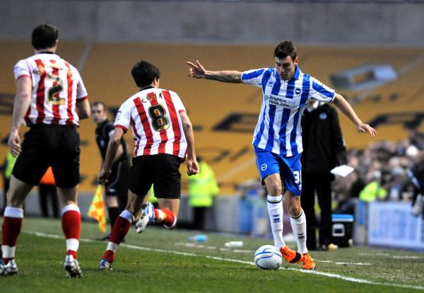 Grant Hall in action in his only league appearance for Albion, against Southampton