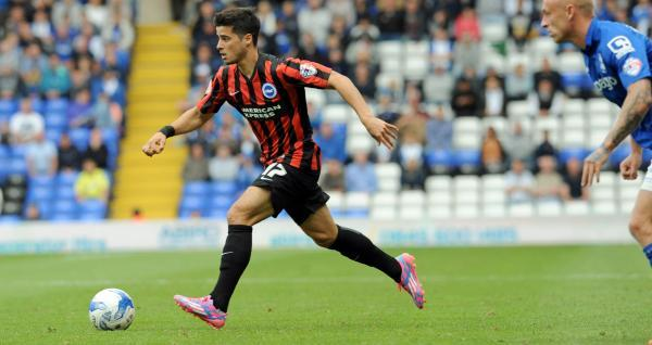 Joao Teixeira looks to cause problems at Birmingham