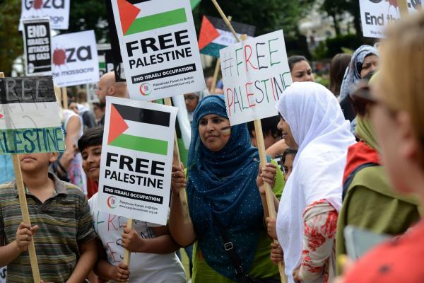 A Free Palestine protest on the Old Steine in Brighton last month