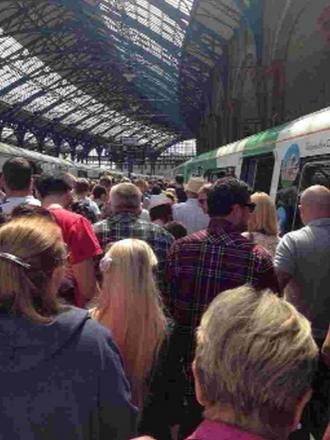 Queues at Brighton station