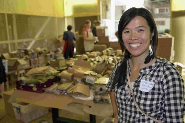 Volunteer Mei-Wah who is co-ordinating the food distribution operation