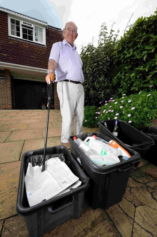 Roy Prater from Vallance Gardens in Hove with his recycling rubbish, which has not been collected for four weeks now