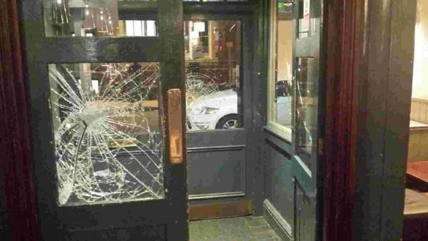 Barred drinkers smashed doors and windows at the Jacobs Post pub