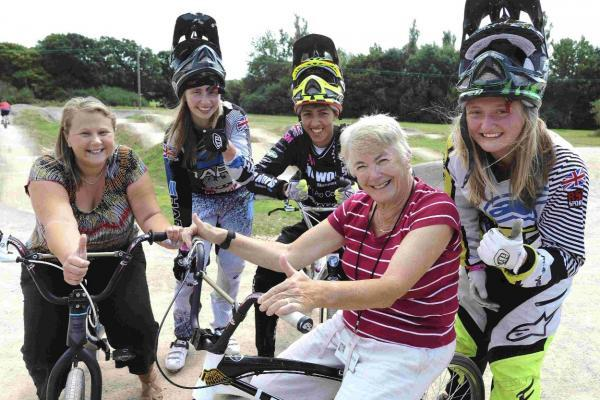 Councillors Cherry Catherine and Pru Moore with professional BMX riders Abbie Taylor, Jordan Hayes and Chloe Taylor