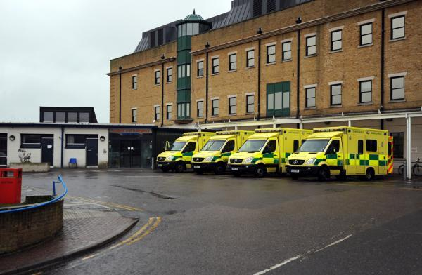 Ambulances waiting outside the Royal Sussex County Hospital Accident and Emergency department