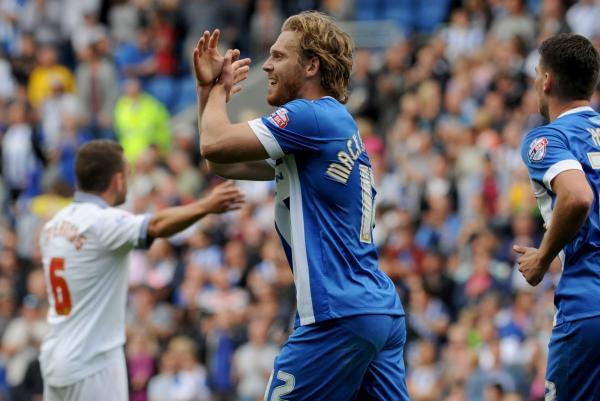 Craig Mackail-Smith celebrates his goal today