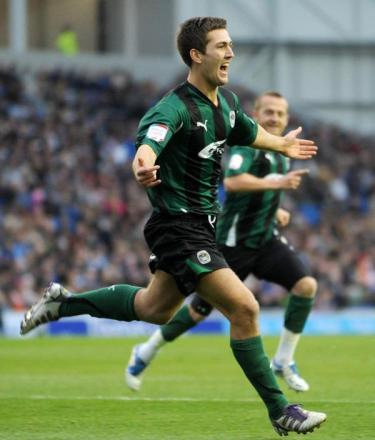 Gary Gardner celebrates his debut goal for Coventry at the Amex. Pic by coventrytelegraph.net