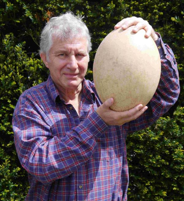 Expert Errol Fuller holds the egg of the extinct elephant bird, which will go to auction in November