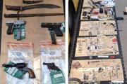 Five arrested over Worthing pond haul of stolen knives, guns and jewellery