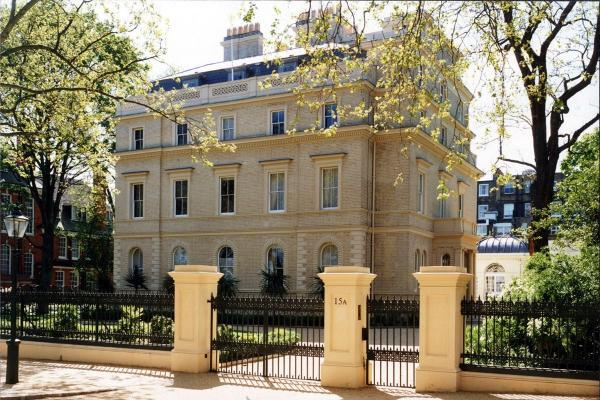 A front view of 18 and 19 Kensington Palace Gardens, central London, which has become the most expensive home to go on sale in the country with an asking price of £85 million.