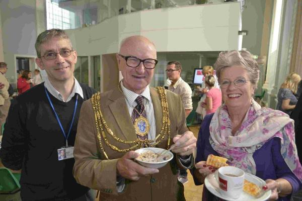 Operational manager Simon Hughes with Brighton and Hove Mayor Brian Fitch  and wife Norah during their visit to an open morning at First Base Day Centre