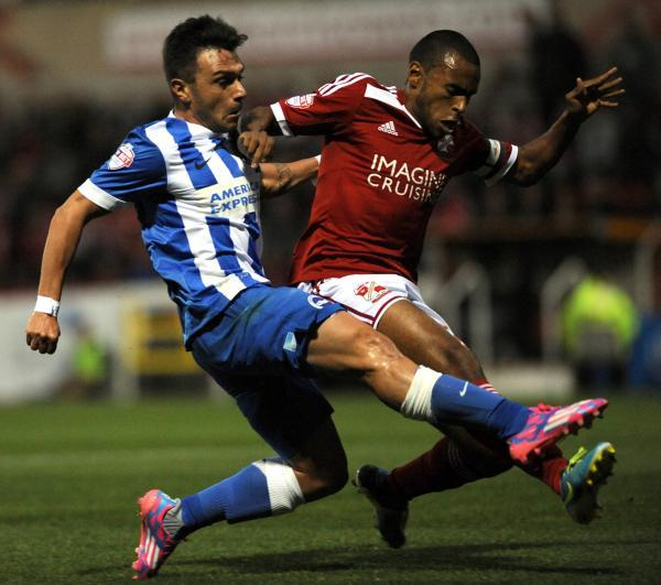 Adrian Colunga in action at Swindon in midweek