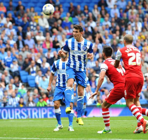 Lewis Dunk heads in the late equaliser (photo Simon Dack)