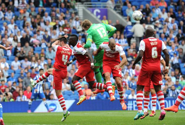 David Stockdale charges forward in the dying seconds