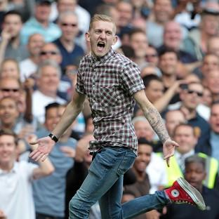 Jordan Dunn runs on to the pitch during the Barclays Premier League match at Upton Park.