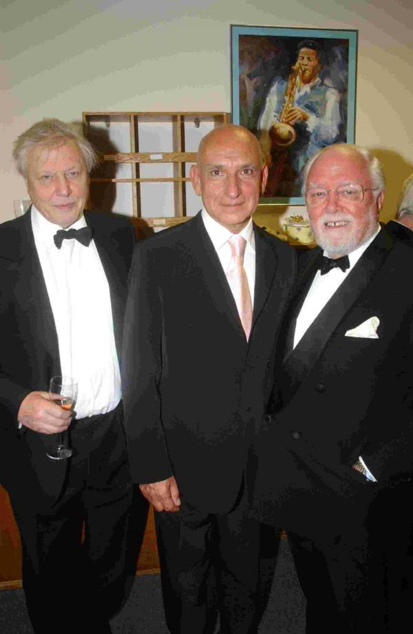 With brother David Attenborough and Sir Ben Kingsley during