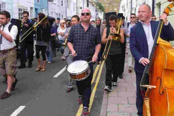 The musicians on the New Orleans-style parade through Brighton