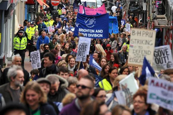 Members of the NUT and their supporters march through the centre of Brighton in March.   Picture: Simon Dack