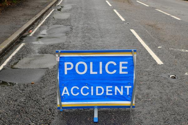 Road blocked after four car crash