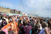 Hundreds of Hari Krishna followers take part in the annual Rathayatra Festival Chariot Parade along Hove seafront.  Picture: Simon Dack