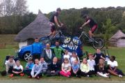 Moulsecoomb Primary School pupils with members of Sustrans