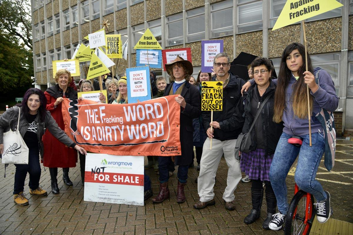 Protesters against fracking marched from Lewes Station to County Hall.  Picture: Terry Applin