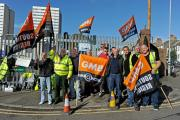 Members of the GMB union picketing outside the Hollingdean Depot
