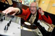 Veteran DJ Rockin' Bill, also known as Bill Wheeler, spins tunes at the Chequers Inn, Preston Street