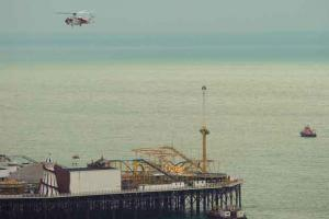 Brighton lifeboat crews launch following reports of person jumping off Palace Pier into the sea