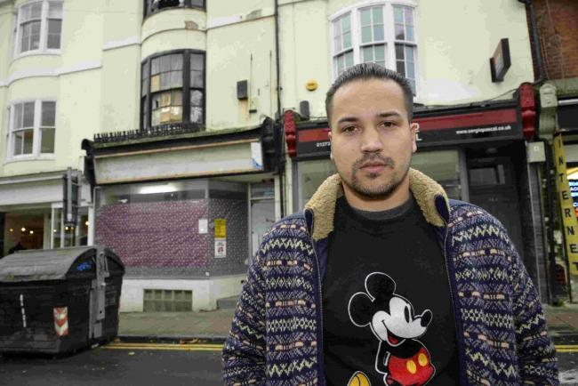 Henry Gomez is outraged that squatters are preventing him from starting his new business in Brighton