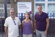 Councillor Alan Robins, left, Rae Powers and Peter Kyle outside the school