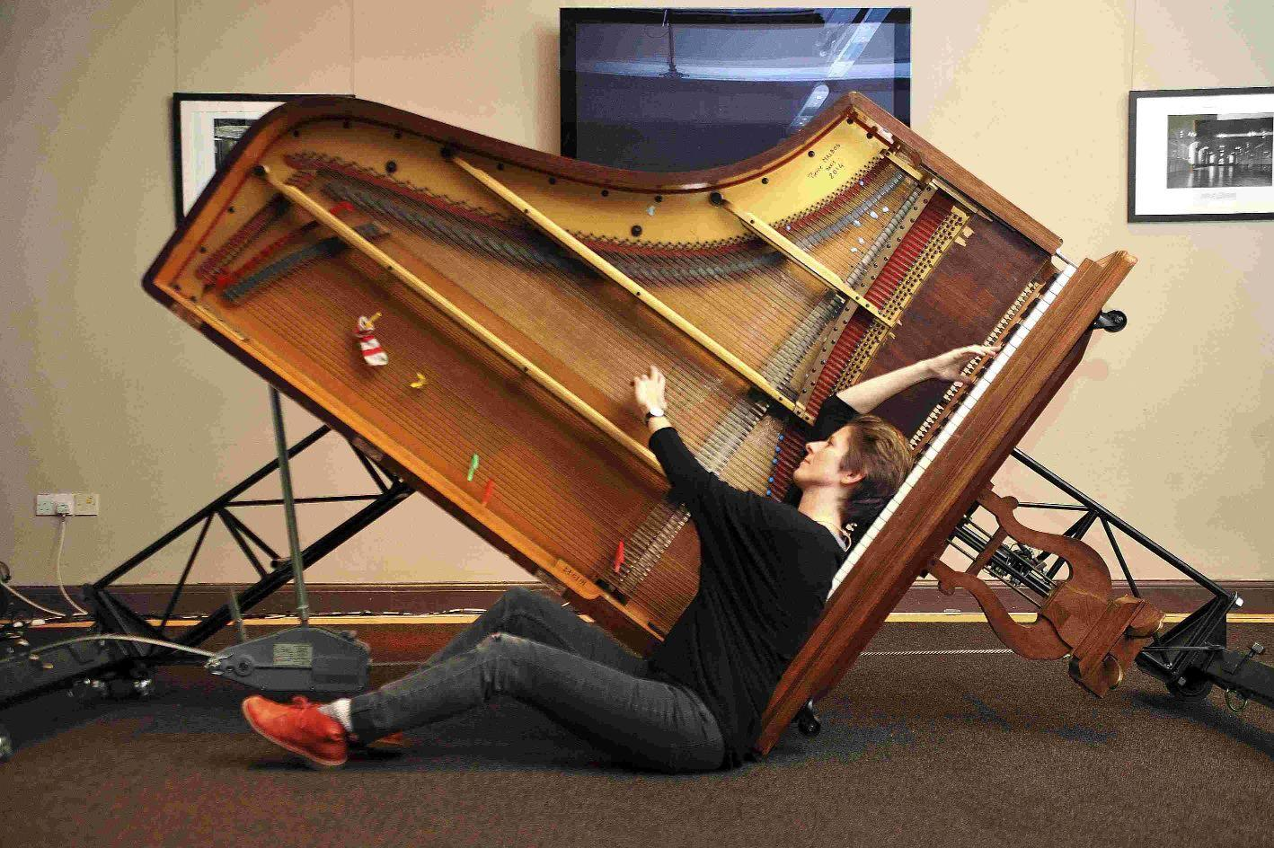 Experimental pianist Sarah Nicolls and her inside out piano at Brighton Dome