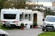 Travellers arrive at Hove Park - with their Christmas trees
