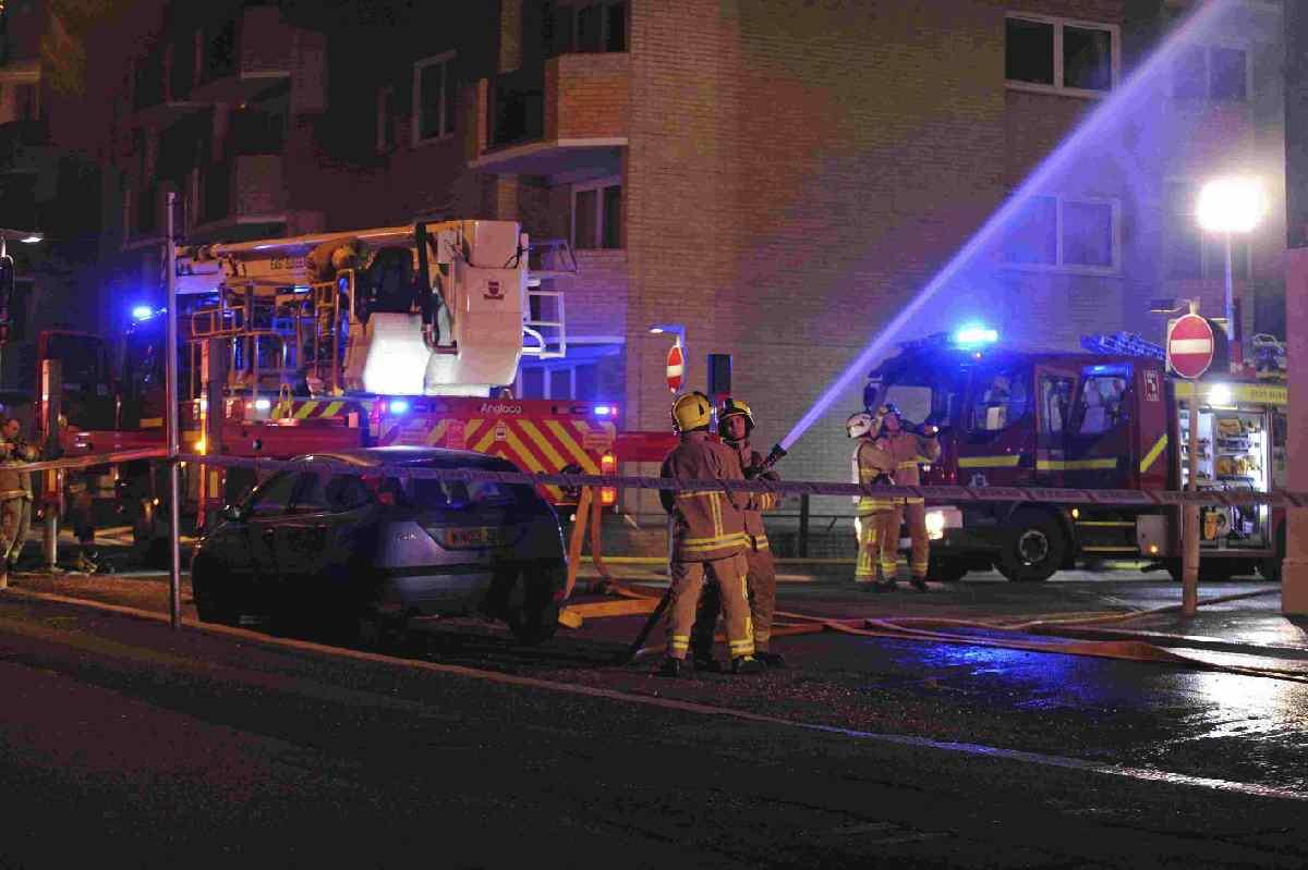The firefighters tackle the suspicious blaze at Medina House, Hove