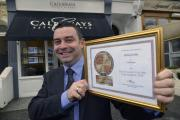 James Duffy of Callaways, Hove, with his Estate Agent Of The Year  2014 award
